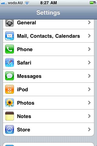 Settings iPod Menu for Screen Sharing