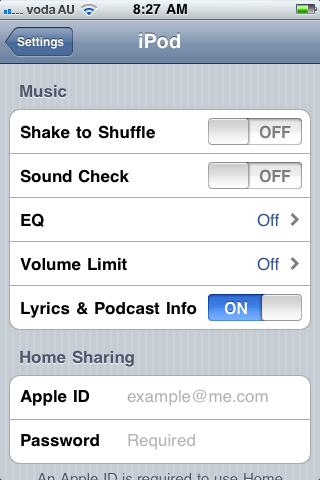 iPod Settings Menu