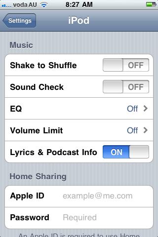 iPod Settings Menu