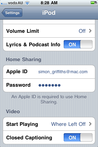 Home sharing settings completed in settings