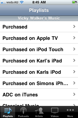 Browsing the iTunes Library in Home Sharing